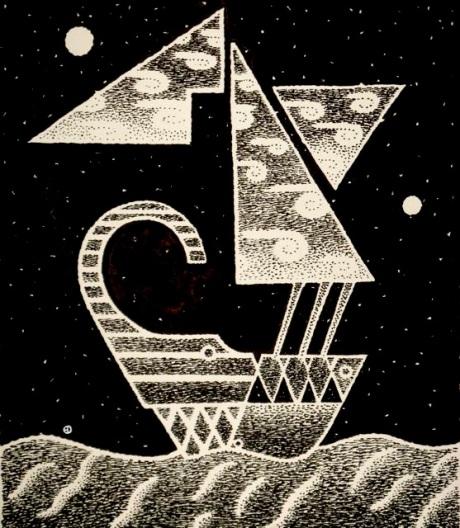 Ship at night w moons